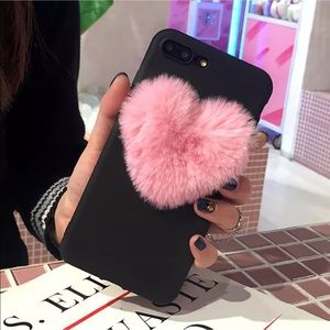 New iPhone 6 Plus Phone Case w/fuzzy pink Heart
